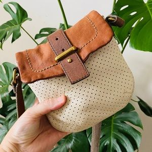 FOSSIL perforated leather crossbody bag flap top